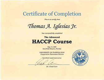 Tom Jr. Advanced HACCP Certificate