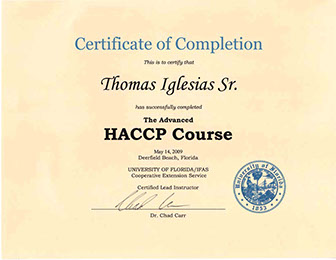 Tom Sr. Advanced HACCP Certificate