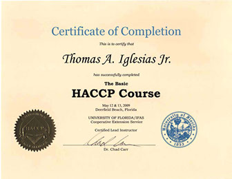 Tom Jr. Basic HACCP Certificate